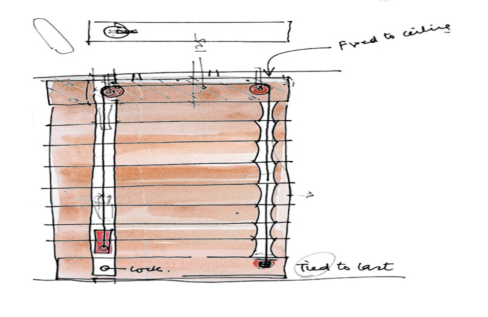 Crtež zavesnih vrata.