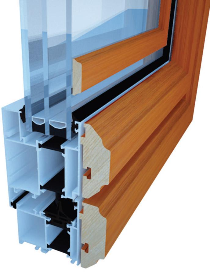Savremeni aluminijumski prozor Tehnomarket TMD Ecol sa spoljnom drvenom oblogom