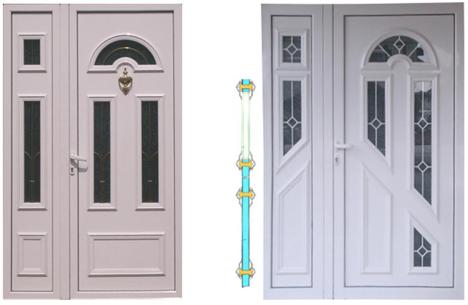 Korišćenje aluminijumskih površina sa odgovarajućim aluminijumskim profilima i PVC panelima za odgovarajuće PVC profile okvira vrata