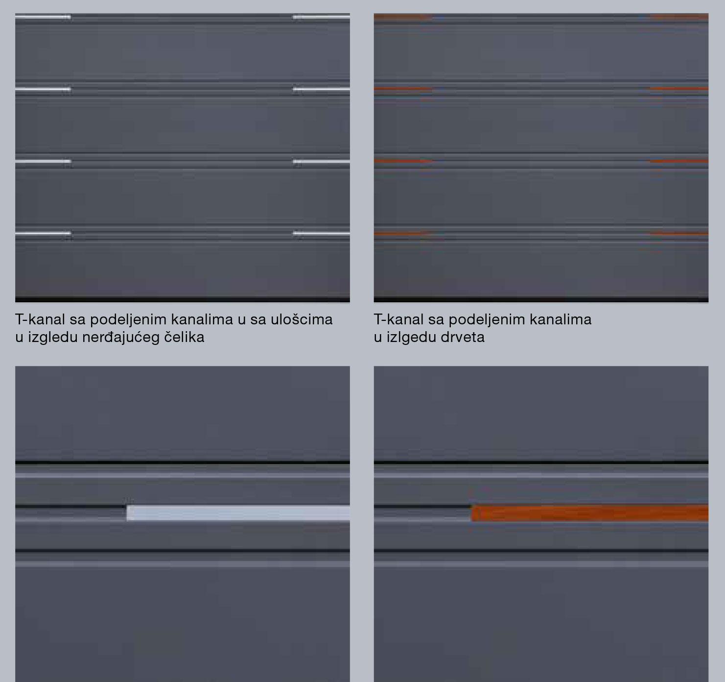 T-kanal sa podeljenim kanalima u sa ulošcima; T-kanal sa podeljenim kanalima