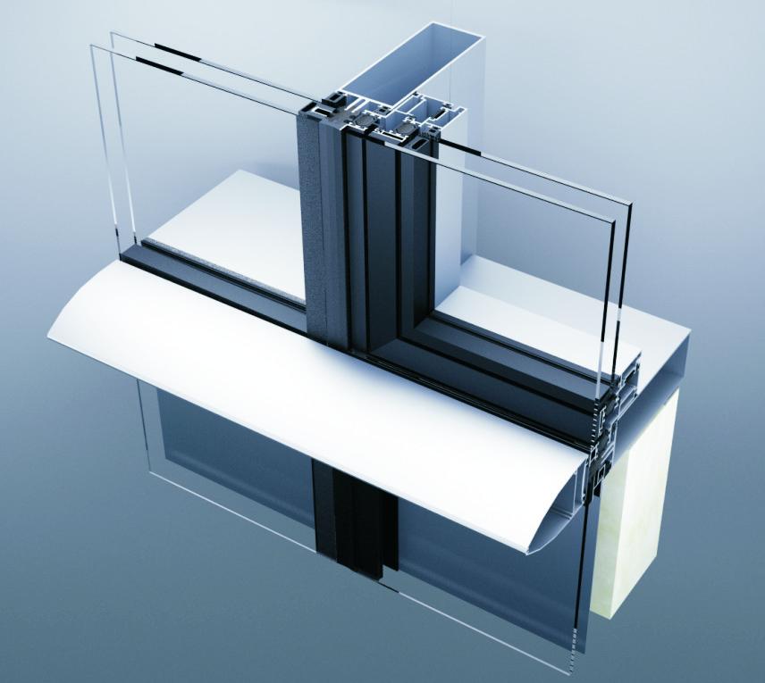 Aluminik CS55 kombinovana fasada sa naglatenom horizontalom i parapetom