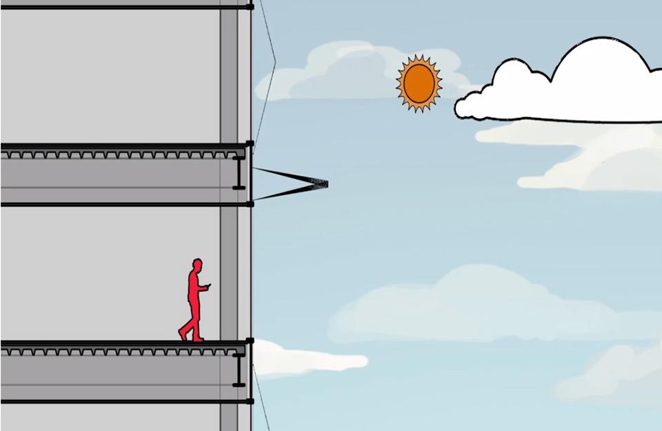 Roletne koje se prilagođavaju suncu u položaju 1