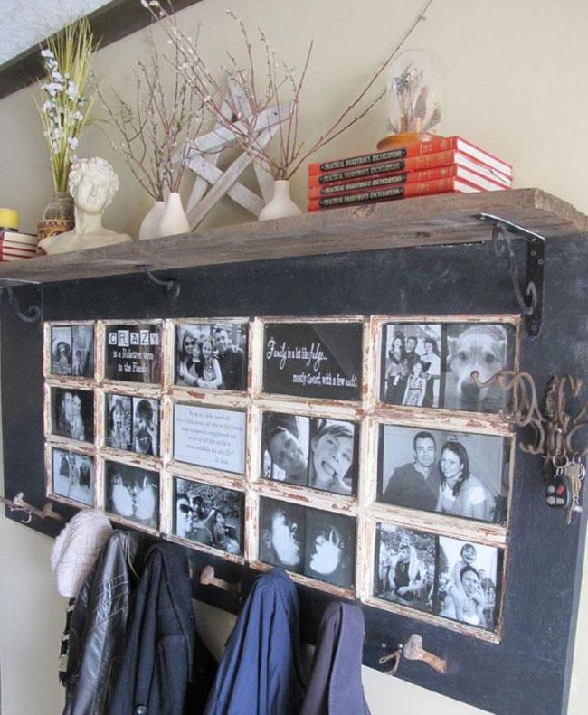 Praktično i kreativno - Prozorski ram je poslužio kao prelep čiviluk sa najlepšim uspomenama Vaše porodice