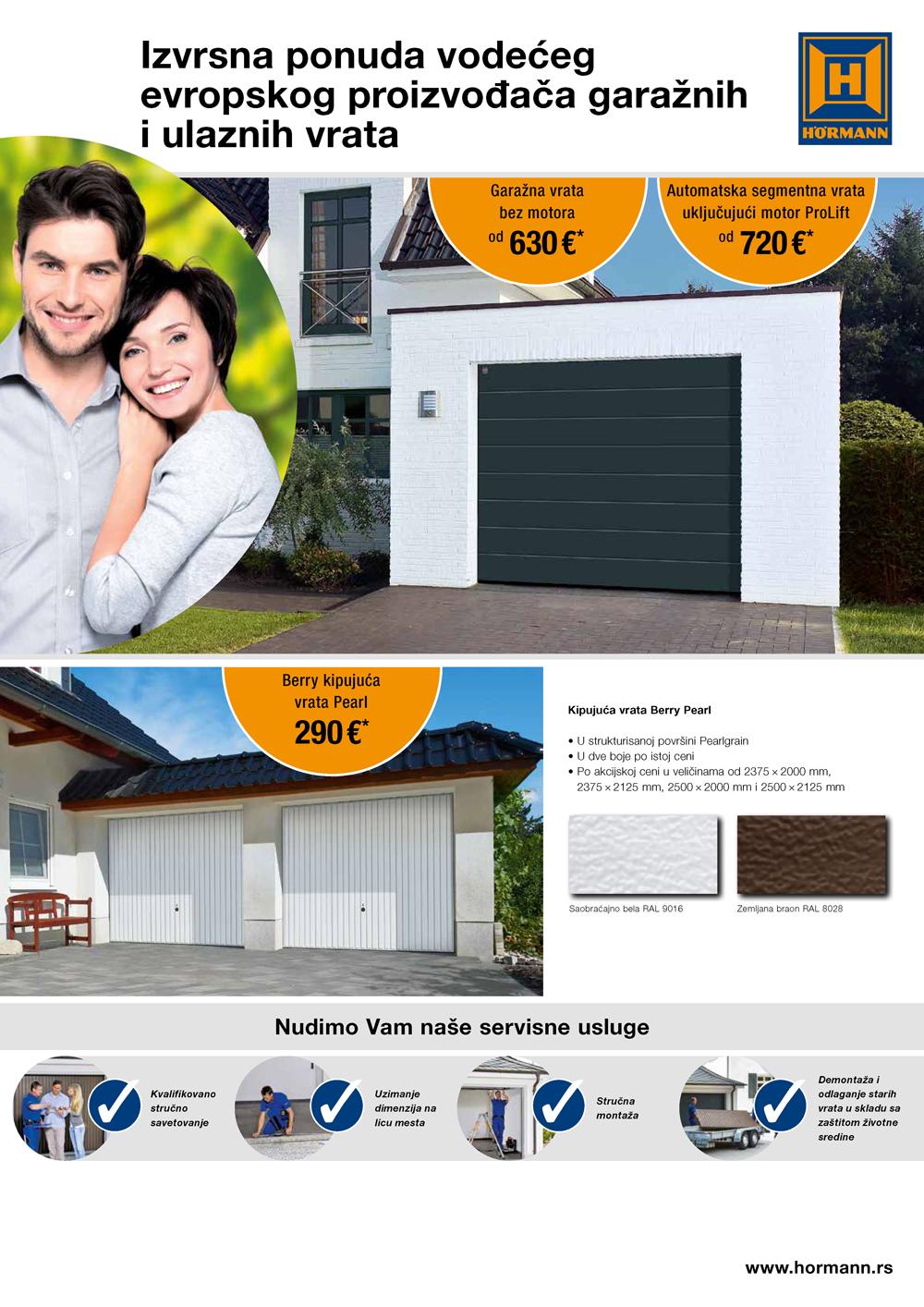 Kvalitetna Hörmann garažna i ulazna vrata po akcijskim cenama