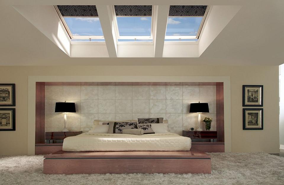 Slika 2 - Azijski stil spavaće sobe sa krovnim prozorima