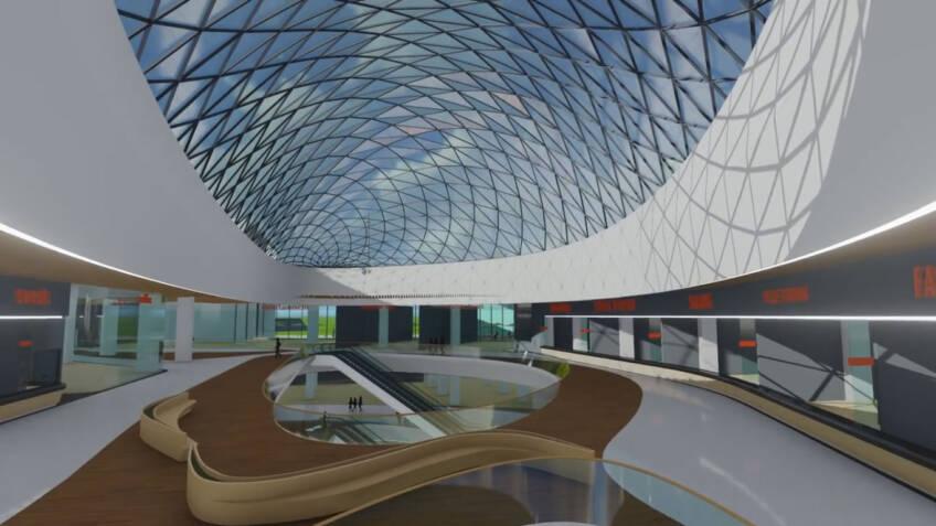Enterijer tržnog centra sa velikim staklenim kupolama