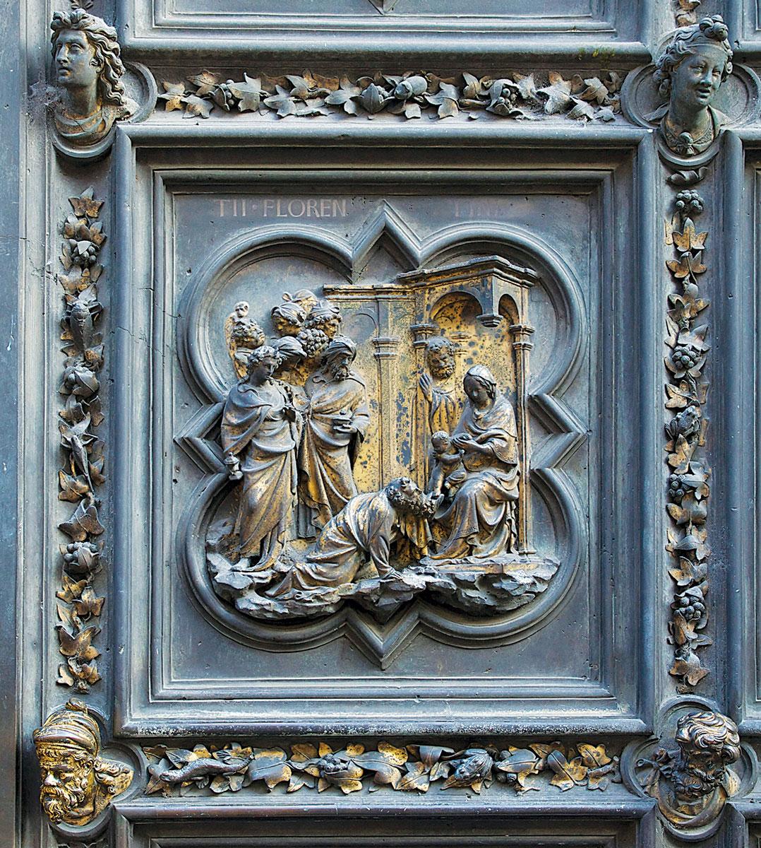 Il Battesimo del Battista: formella di Andrea Pisano della porta a sud