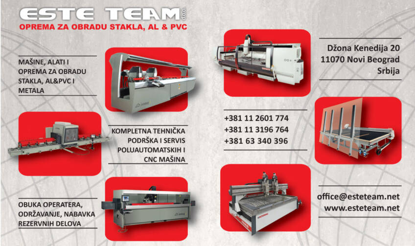 ESTE TEAM d.o.o. posluje u sektoru opreme za obradu stakla