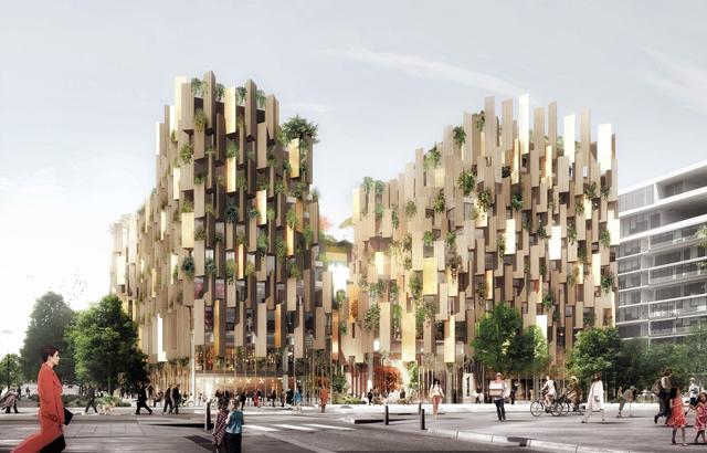 """""""Nalik česticama, disperzirani fasadni paneli zajedno sa volumetrijskom dekompozicijom dovode do """"zamagljivanja"""" oblika zgrade"""", rekle su arhitekte."""