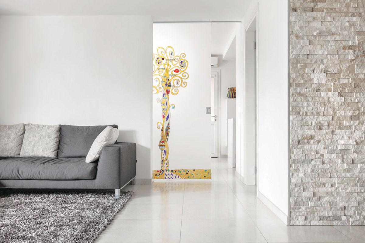 Eclisse staklena ručno oslikana sobna vrata