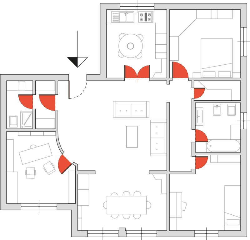 Nacrt uštede prostora sa kliznim vratima