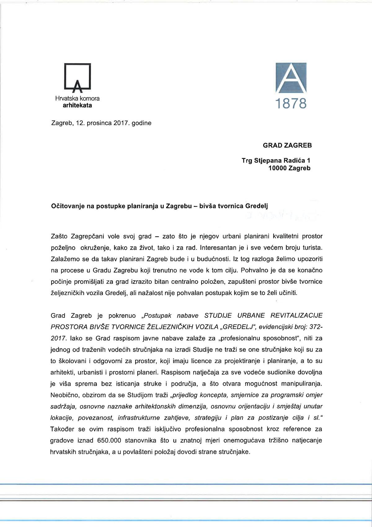 Očitovanje na postupke planiranja u Zagrebu - bivša tvornica Gredelj