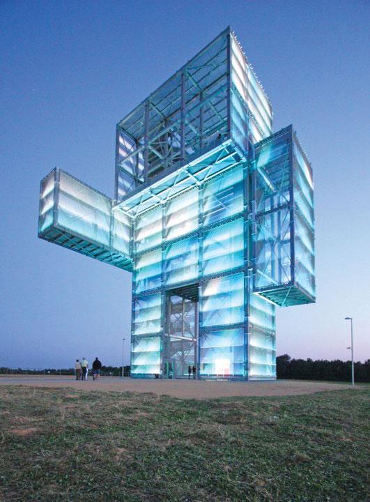 Ilumeš fasade -  sistem mrežastih panela od aluminijuma i  LED osvetljenja