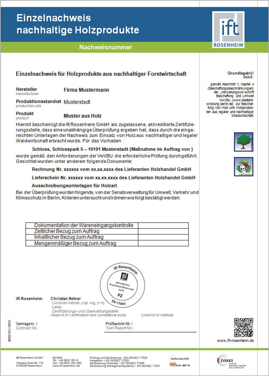 Individualni dokaz izdat od strane ift Rosenheim instituta
