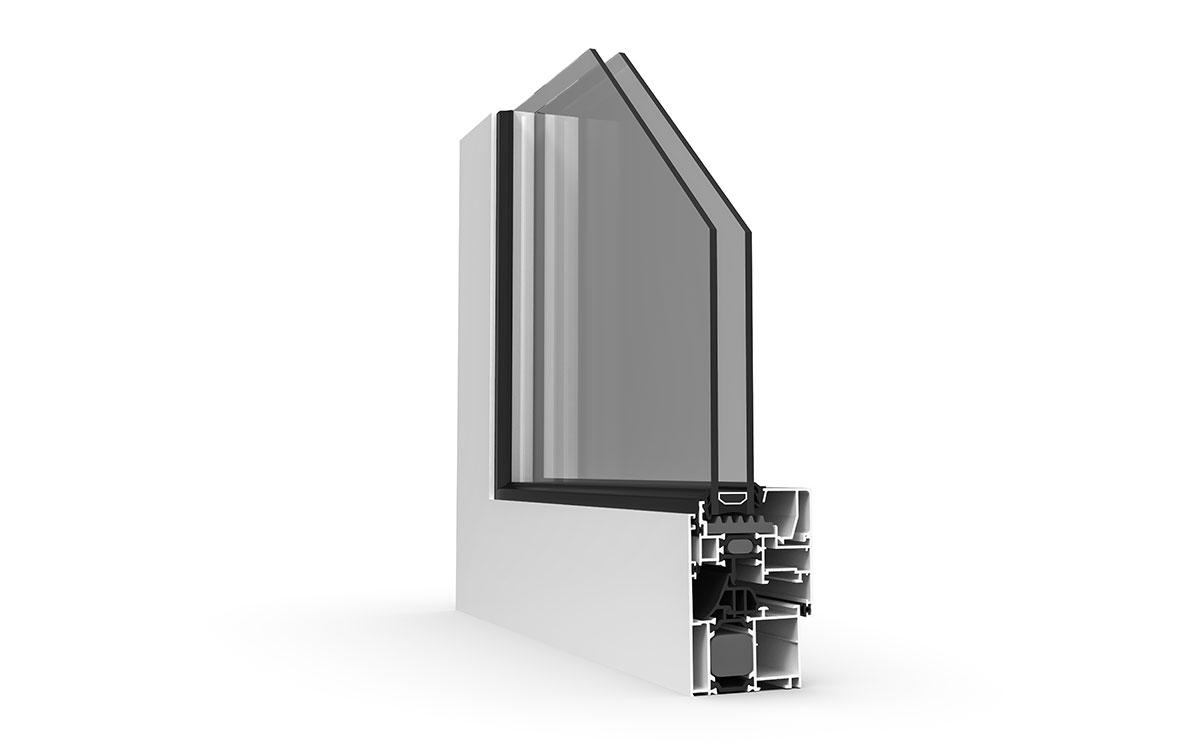 Aluminijumski prozor, presek profila ALU stolarija