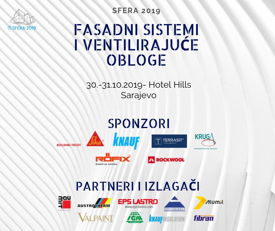 VIII Međunarodna naučno stručna konferencija ''Sfera 2019: Fasadni sistemi i ventilirajuće obloge''