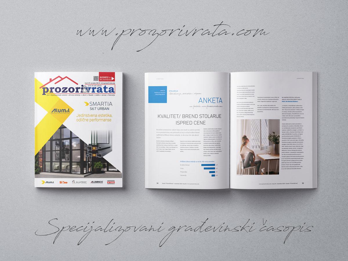 Specijalizovani građevinski časopis PROZORI&VRATA broj 34, novembar 2020.