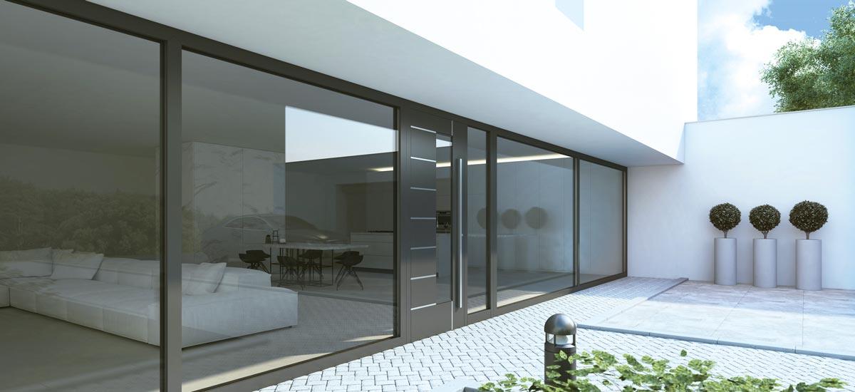 Elementi za vrata koji se upotrebljavaju u sistemima panelnih vrata ALUPROF dostupni su u raznim materijalima i oblicima